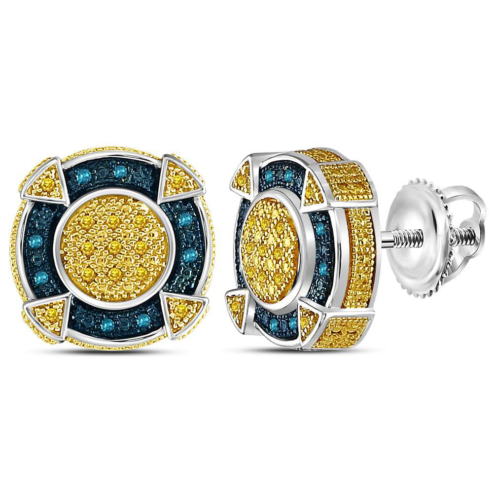 Sterling Silver Mens Round Yellow Color Enhanced Diamond Cluster Earrings 1//20