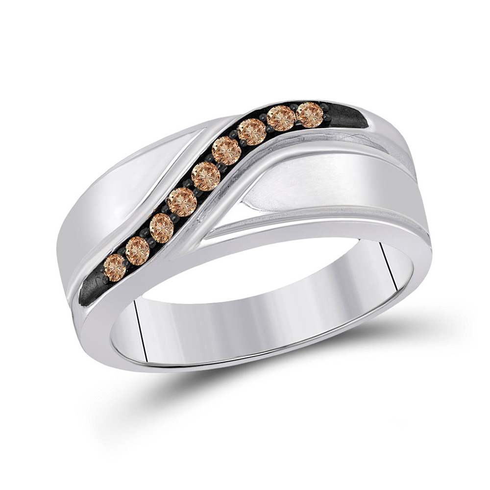 Sterling Silver Mens Round Brown Diamond Wedding Anniversary Ring