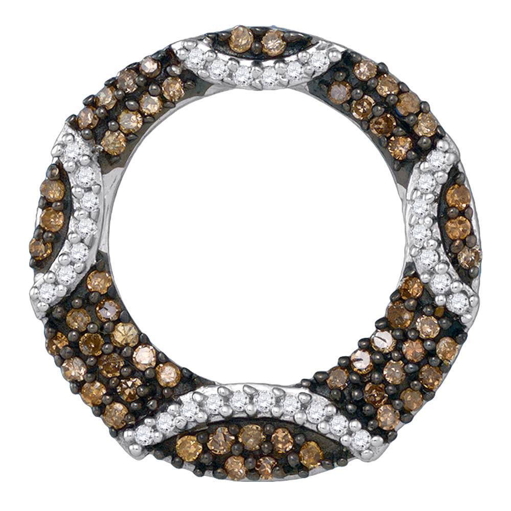 10k Yellow Gold Brown Diamond Stripe Circle Pendant 3//8 ct