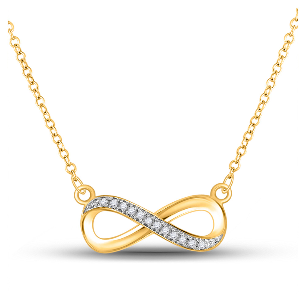 10k Yellow Gold White Round Diamond Infinity Love Pendant Necklace 1/20 Cttw