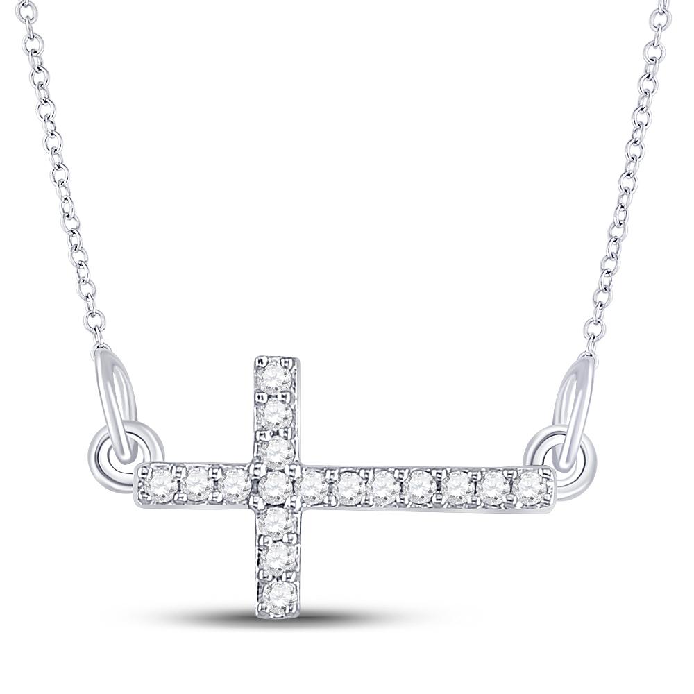 Sterling Silver Womens Round Diamond Horizontal Sideways Cross Necklace 1/10 Cttw