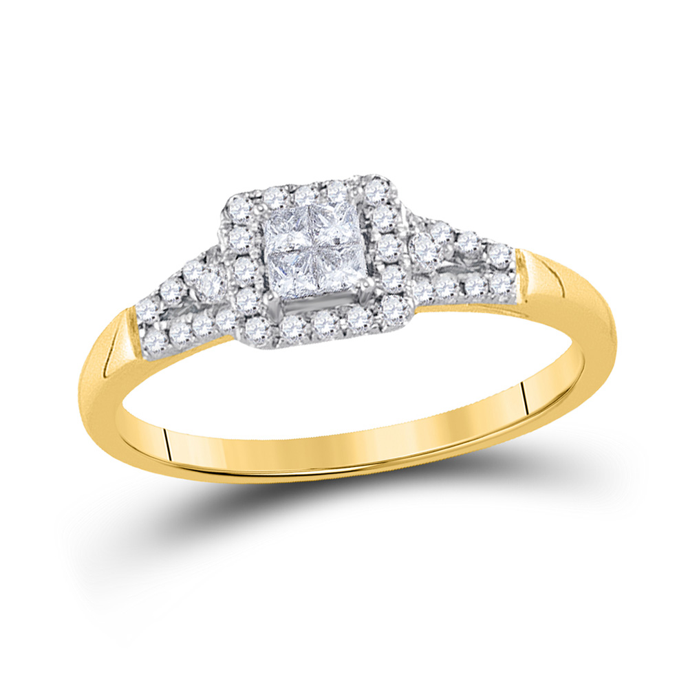 14kt Yellow Gold Princess Diamond Square Frame Cluster Ring 1/3 Cttw