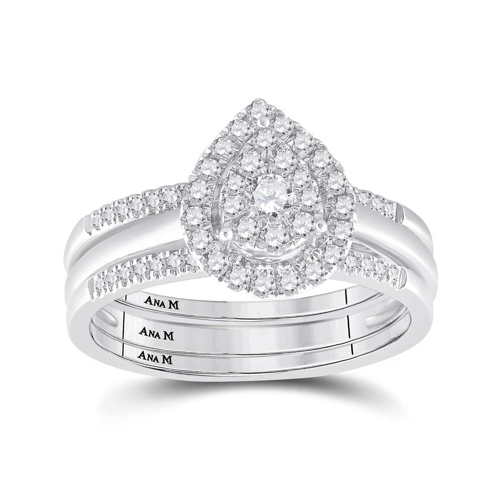 14k White Gold Round Diamond Teardrop 3 Piece Bridal Wedding