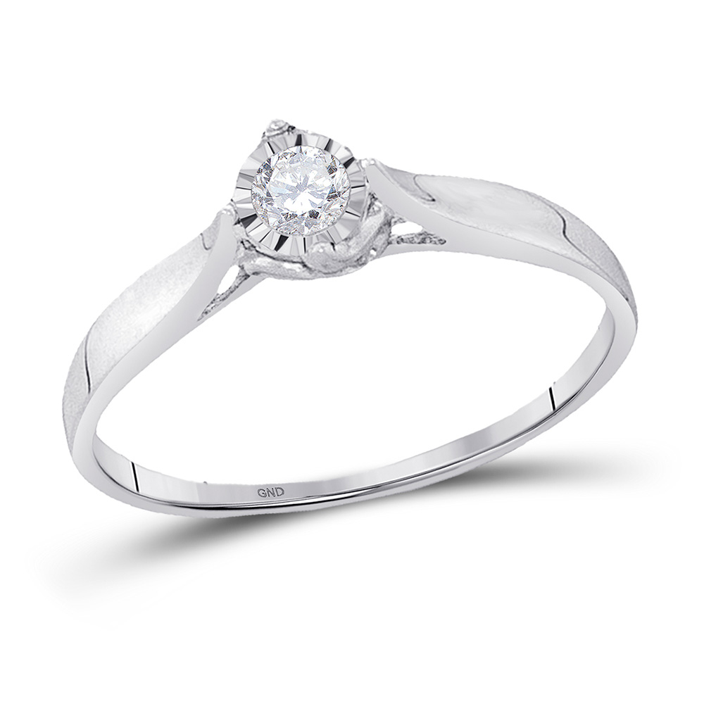 10kt White Gold Womens Round Diamond Solitaire Promise Ring 1/12 Cttw