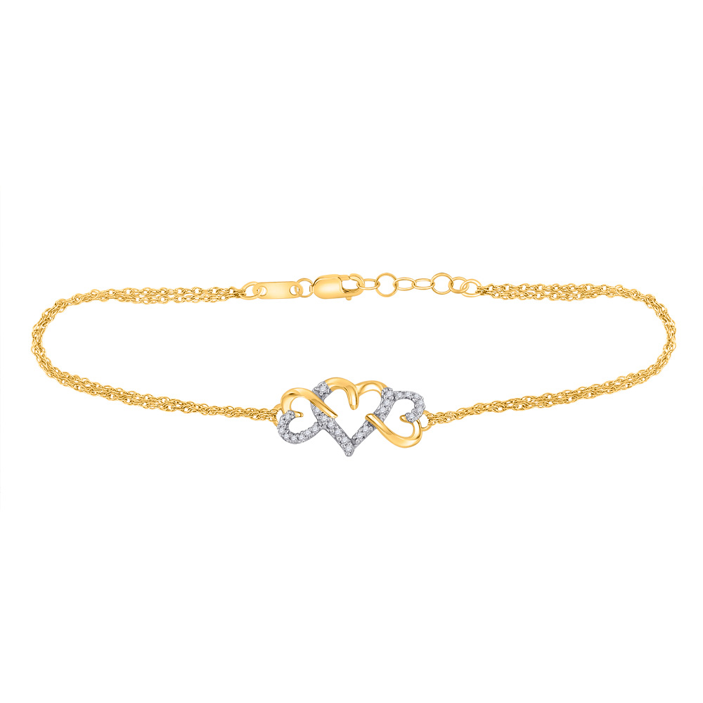 10kt Yellow Gold Womens Round Diamond Triple Heart Chain Bracelet 1/10 Cttw