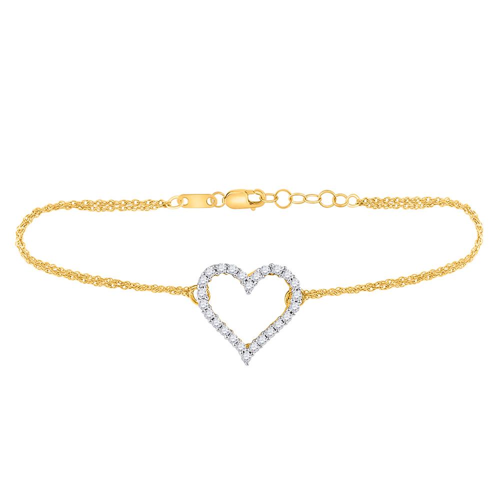 10kt Yellow Gold Womens Round Diamond Heart Bracelet 1/8 Cttw