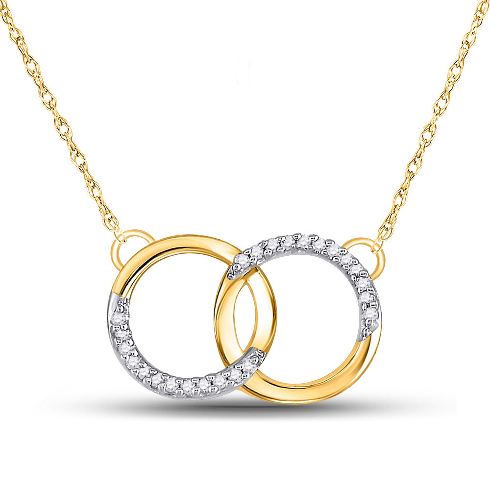 10kt Yellow Gold Womens Round Diamond Interlocking Double Circle Pendant Necklace 1/10 Cttw
