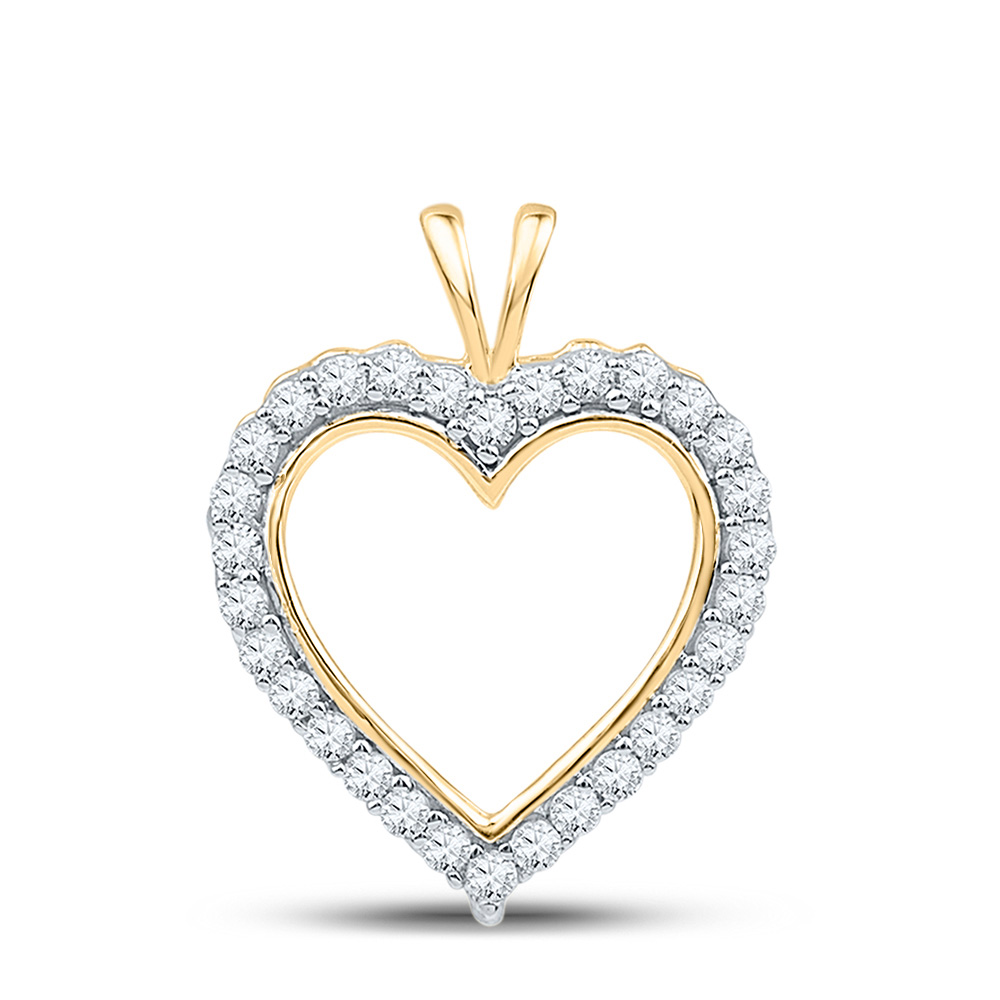 10kt Yellow Gold Womens Round Diamond Heart Outline Pendant 1/4 Cttw