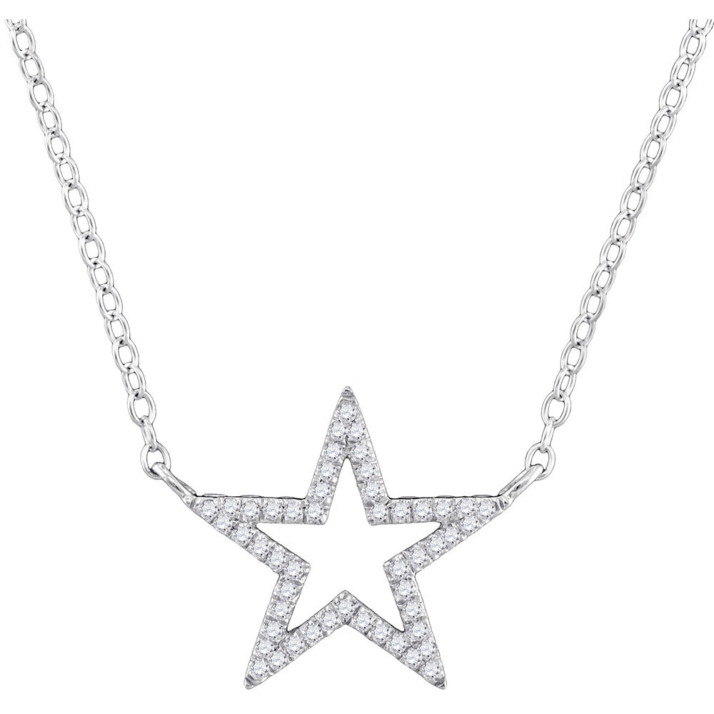 10kt White Gold Womens Round Diamond Star Outline Pendant Necklace with 18