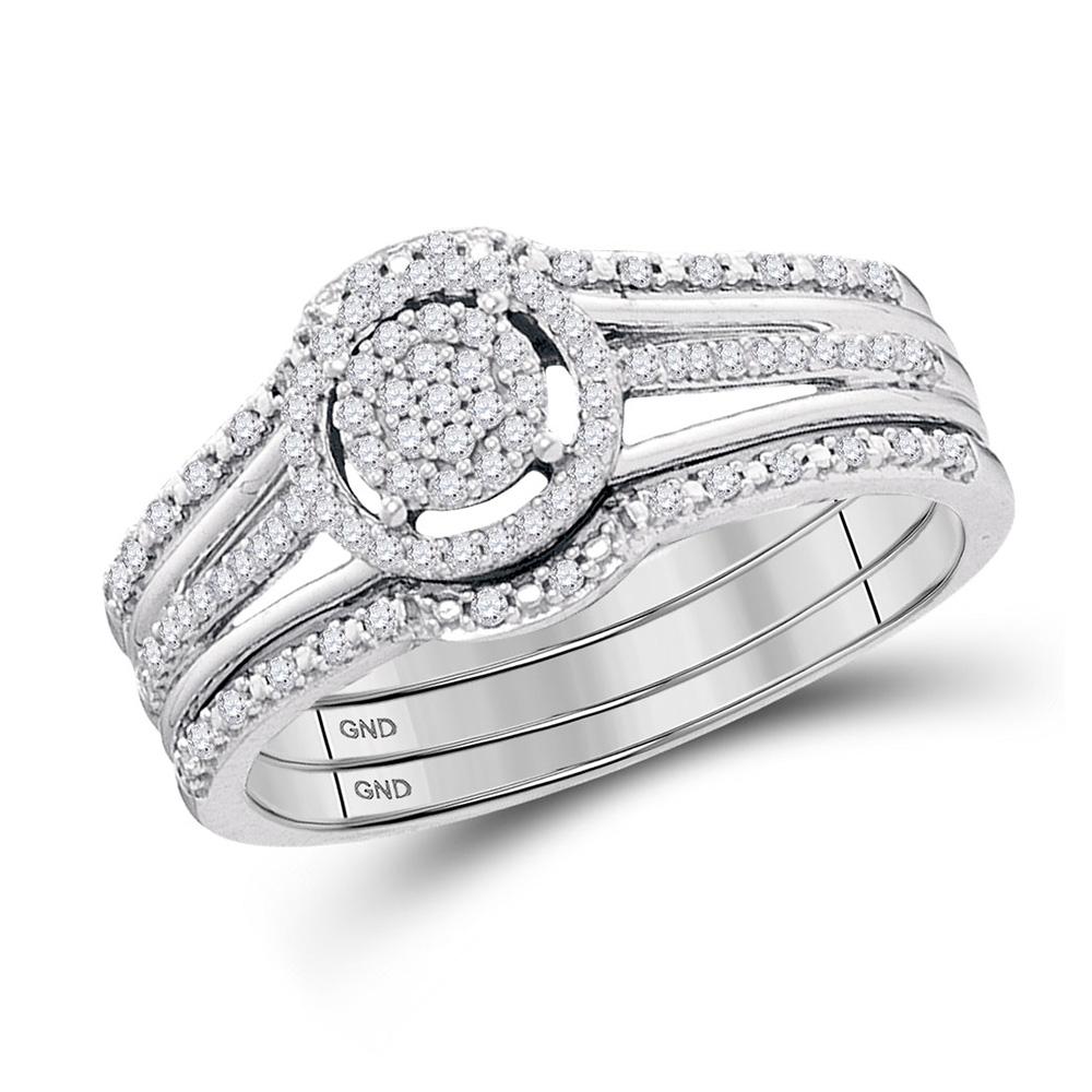 Details About 10kt White Gold Round Diamond Cluster 3 Piece Bridal Wedding Engagement Ring Set