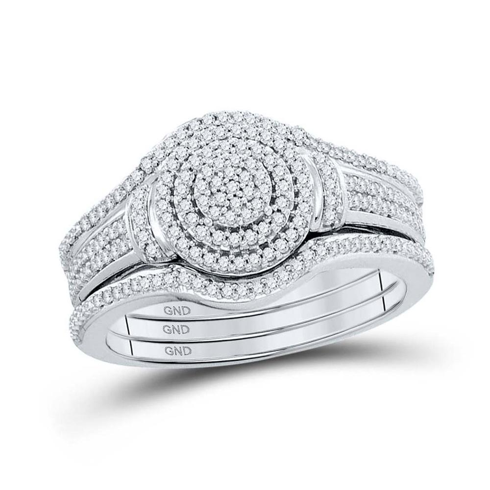 10kt White Gold Round Diamond 3-Piece Bridal Wedding Ring Band Set 1/3 Cttw